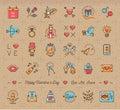 Retro Valentine Icon, Vintage love symbols, flat line thin style
