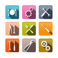 Retro vector buttons cogs gears screwdriver pincers spanner hand wrench tools knife fork Stock Photography