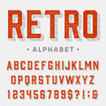 Retro vector font letters numbers and symbols vintage alphabet for labels headlines posters etc Royalty Free Stock Photo