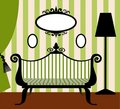 Retro vector interior in green and black Royalty Free Stock Image