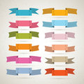 Retro vector ribbons set colorful labels collection Royalty Free Stock Image