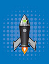 Retro Vector rocket. Royalty Free Stock Image