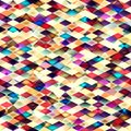 Retro vector seamless pattern colorful mosaic banner repeating geometric tiles with colored rhombus Royalty Free Stock Photography
