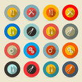 Retro vector tools buttons set icons Royalty Free Stock Images