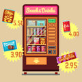 Retro vector vending machine with snacks and drinks flat icons