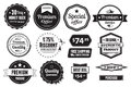 Retro vector vintage seals labels stamps and buttons a set of graphics including badges price tags Royalty Free Stock Photo