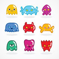 Retro video game monsters set vector illustration Royalty Free Stock Photos