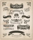 Retro vintage banner and ribbon set Royalty Free Stock Photo
