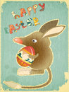 Retro Vintage Card with Easter Australian Bilby Stock Photo