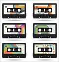 Retro vintage cassette tape isolated white background collection
