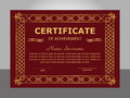 Retro vintage certificate achievement template. Golden and red f Royalty Free Stock Photo