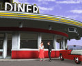 Retro Vintage Fifties Diner Illustration Royalty Free Stock Photo