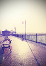 Retro vintage filtered nostalgic promenade with lens flare picture of Royalty Free Stock Photo