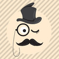 Retro, vintage gentleman in a hat cylinder with mustache and monocle icon on light coloured background