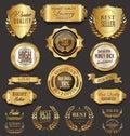 Retro vintage golden badges collection vector illustration