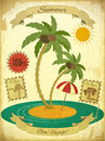 Retro Vintage Grunge Summer Vacation Postcard Royalty Free Stock Photo
