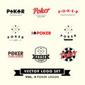 Retro Vintage Hipster Poker Vector Logo Set Royalty Free Stock Photo