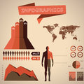 Retro vintage infographic in style with charts and other data Stock Image