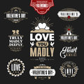 Retro Vintage Insignias or Logotypes set for st.Valentine's day. Royalty Free Stock Photo