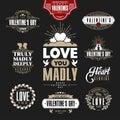 Retro Vintage Insignias or Logotypes set for st.Valentine's day.
