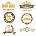 Retro Vintage Insignias or Logotypes set. Vector