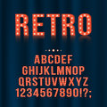 Retro, vintage light bulb alphabet letters and numbers for signboards, movie, theatre, casino