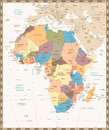 Retro vintage map of Africa