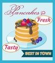 Retro vintage pancake poster Royalty Free Stock Photo