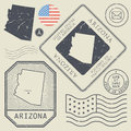 Retro vintage postage stamps set Arizona, United States