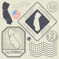 Retro vintage postage stamps set California, United States Royalty Free Stock Photo