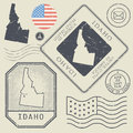 Retro vintage postage stamps set Idaho, United States