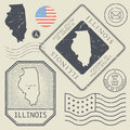 Retro vintage postage stamps set Illinois, United States