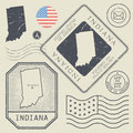 Retro vintage postage stamps set Indiana, United States