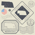 Retro vintage postage stamps set Nebraska, United States