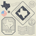 Retro vintage postage stamps set Texas, United States