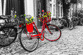 Retro Vintage Red Bicycle On C...