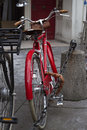 Retro vintage red bike Royalty Free Stock Photo