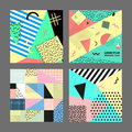 Retro vintage 80s or 90s fashion style. Memphis cards. Big set. Trendy geometric elements. Modern abstract design poster Royalty Free Stock Photo