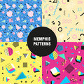 Retro vintage 80s or 90s fashion style. Memphis seamless patterns set. Trendy geometric elements. Modern abstract design
