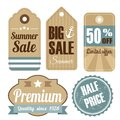 Retro vintage sale quality labels tags set of summer and cardboard illustration Stock Photography