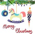 Retro vintage Scandinavian graphic lovely winter holiday new year collage pattern Christmas tree toys and rocking horse vector Royalty Free Stock Photo