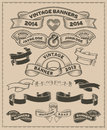 Retro vintage scroll and banner vector set Royalty Free Stock Photo