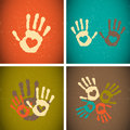 Retro vintage style love handprints Royalty Free Stock Photos