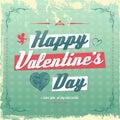 Retro vintage valentine s day greeting card design eps Royalty Free Stock Photos