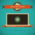 Retro vintage video player interface for web vector illustration games presentations ui tablets smart phones Royalty Free Stock Photo