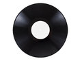 Retro vinyl audio record with scratches, isolated on white background. Royalty Free Stock Photo