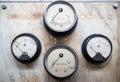 Retro voltmeter indicators Royalty Free Stock Photo