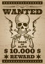 Retro wanted vector poster in wild west thematic Royalty Free Stock Photo