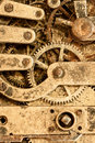 Retro watch parts close up of grungy looking vintage part mechanism Stock Photo