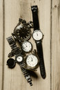 Retro watches picture of on the wood Royalty Free Stock Image